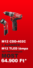 Milwaukee M12 CDD-402C aj�nd�k TLED l�mp�val